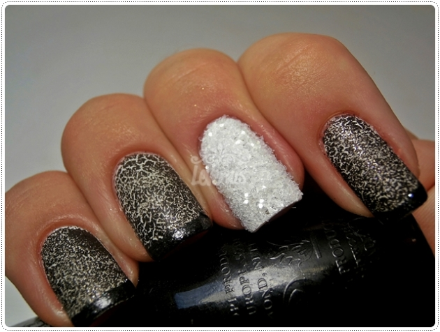 Black & White Smoky Crystal Mani