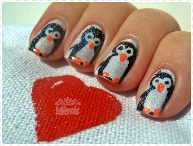nail art holo penguin Mothers Day
