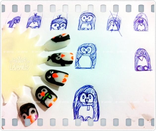 Nail Art Unhas Penguin Dia das Mães