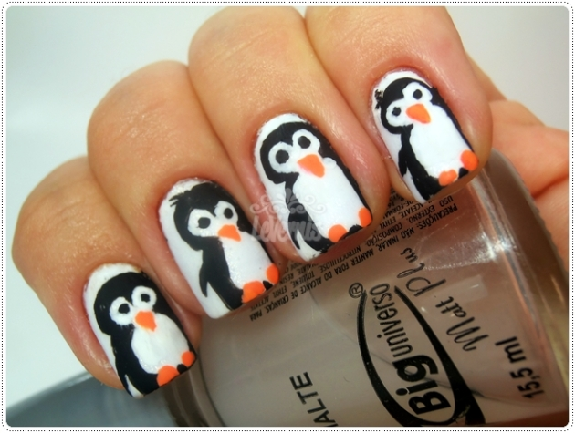 penguin nail art matte