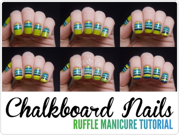 Chalkboard Nails Ruffle Manicure Tutorial