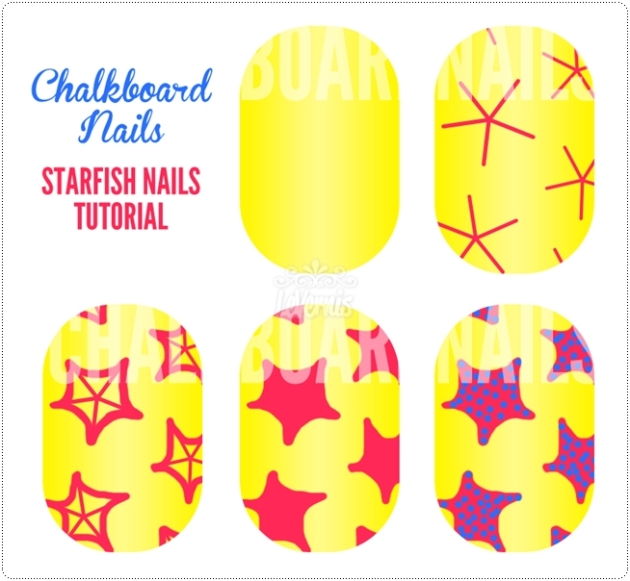 Chalkboard Nails - China Glaze Summer Neons Nail Art: Starfish Manicure (+ Tutorial)